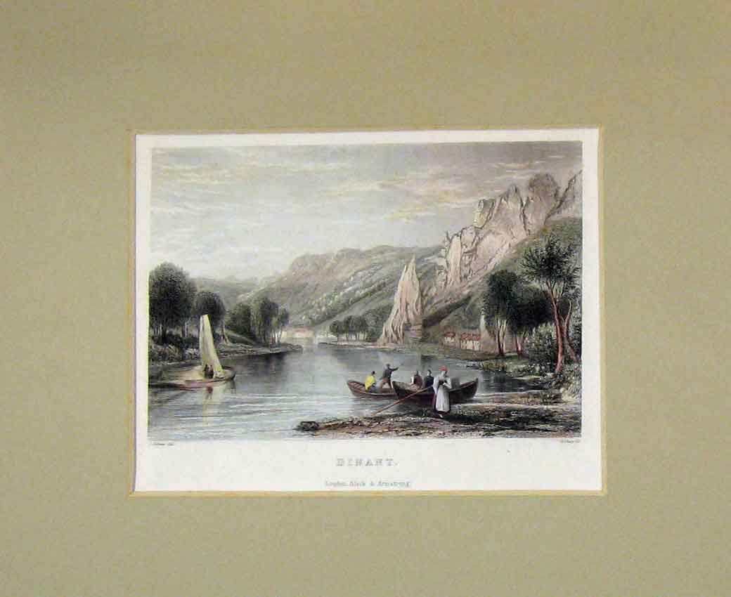 Print 1840 Hand Coloured View Dinant River Boats Shury 109B270 Old Original
