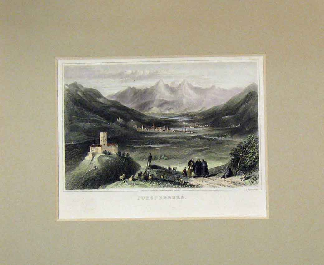 Print 1840 Hand Coloured View Fursterburg Mountain Village 110B270 Old Original