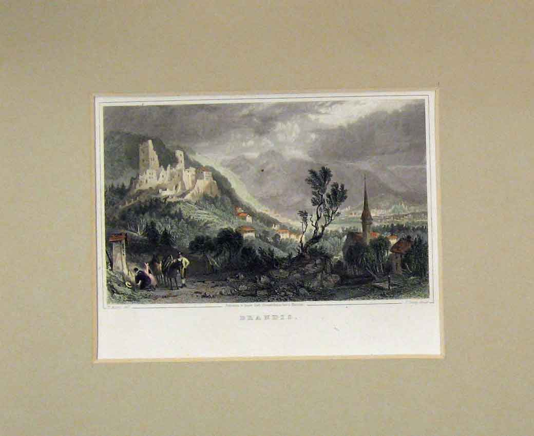 Print 1840 Hand Coloured View Brandis Mountain Ruins 111B270 Old Original