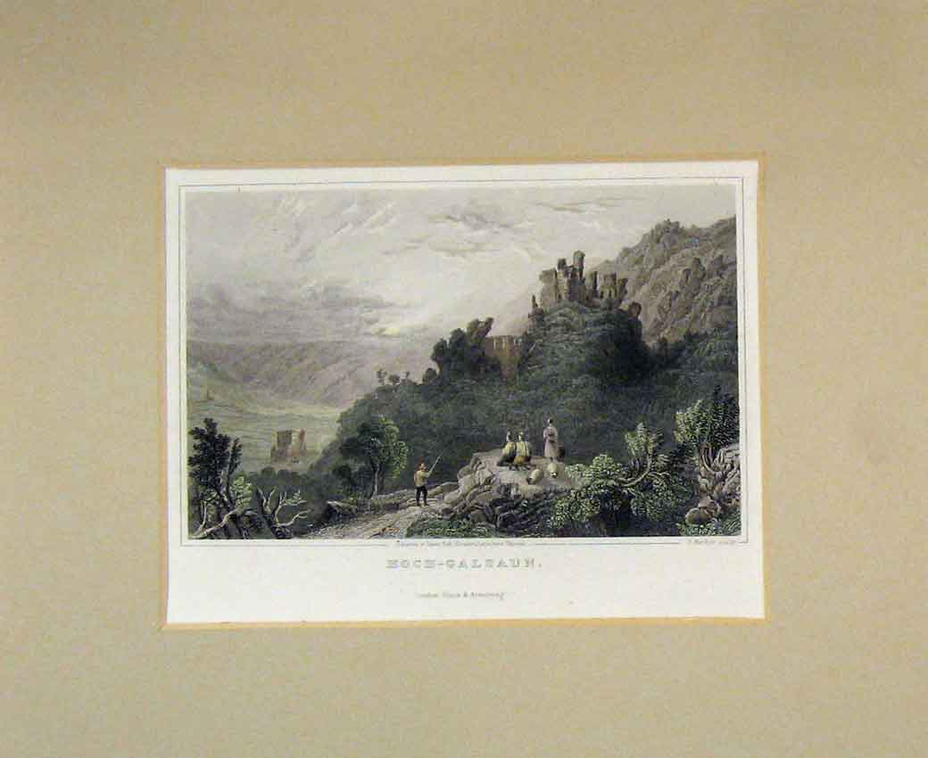Print 1840 Hand Coloured View Hoch-Galzaun Castle Ruins 112B270 Old Original