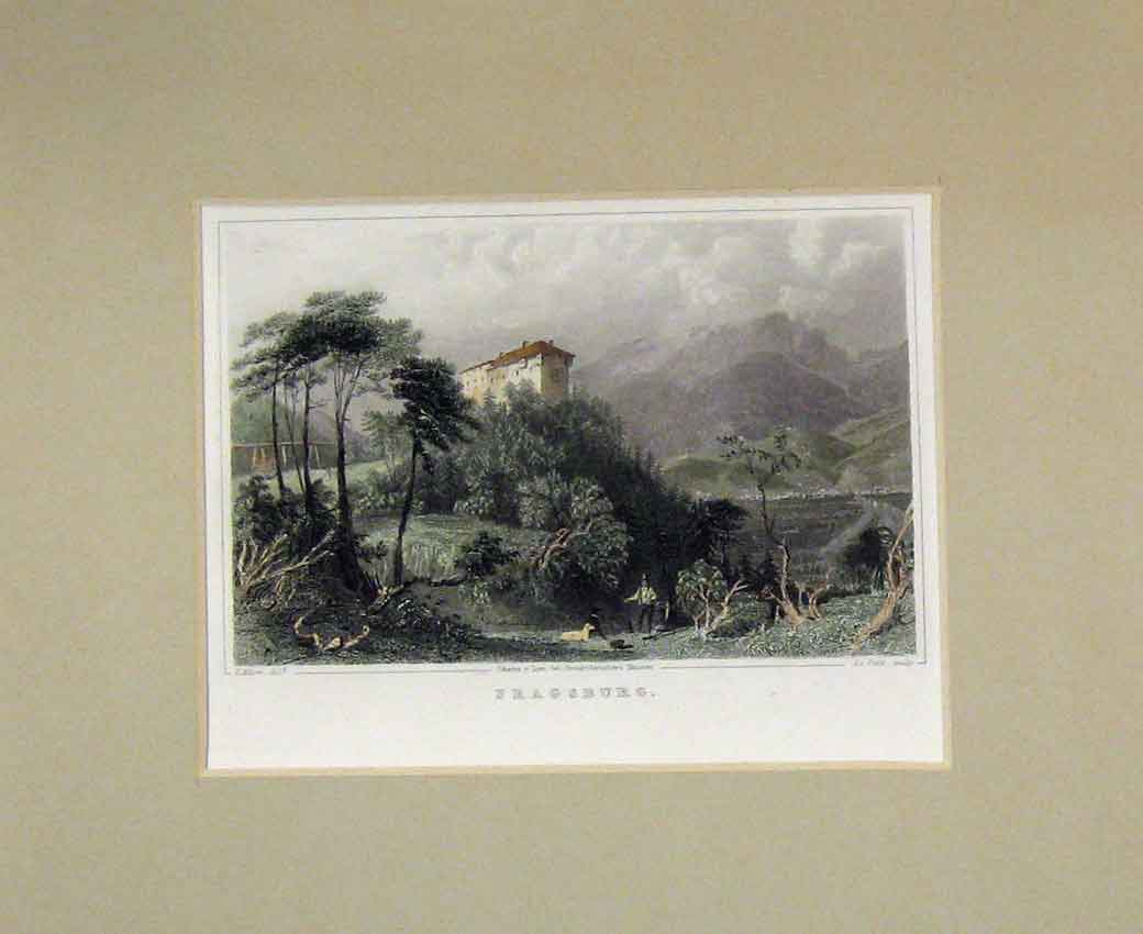 Print Hand Coloured View Fragsburg Mountains 1840 Petit 114B270 Old Original