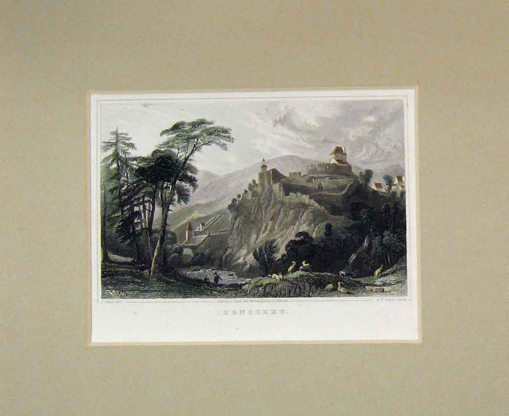 Print 1840 Hand Coloured View Zenoberg Mountain Town Goats 115B270 Old Original
