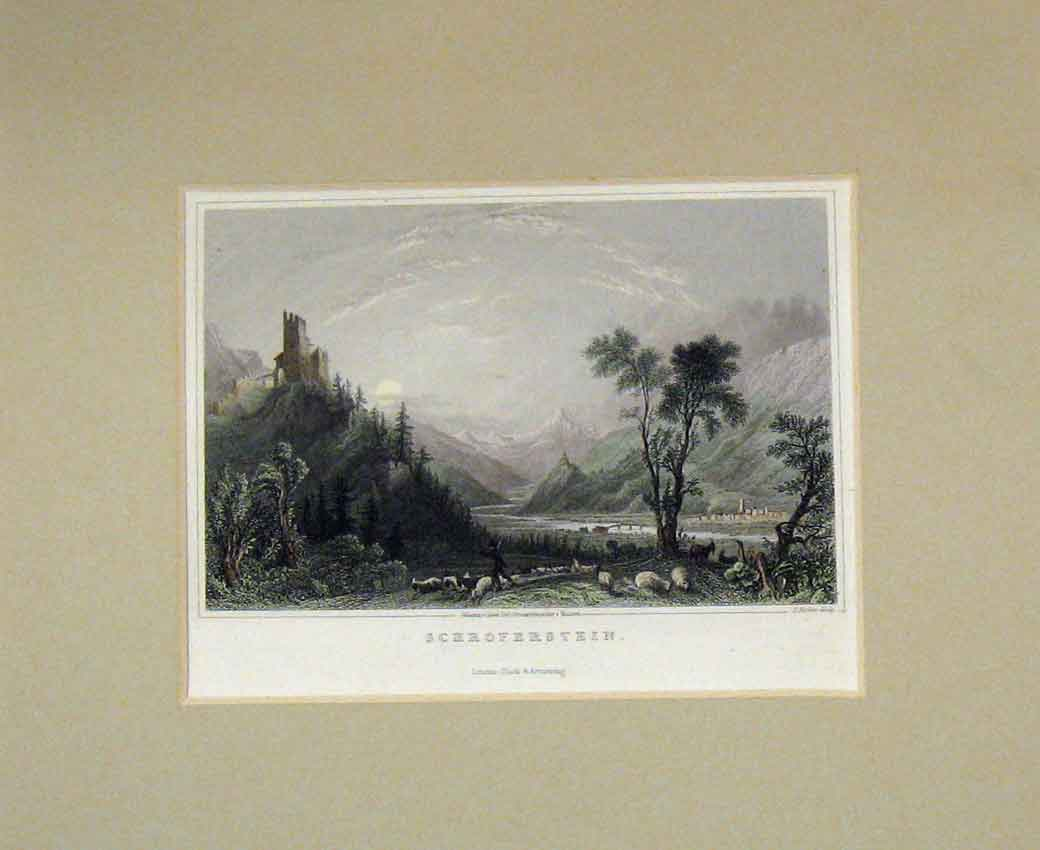 Print View Schroferstein 1840 Hand Coloured Mountains 117B270 Old Original