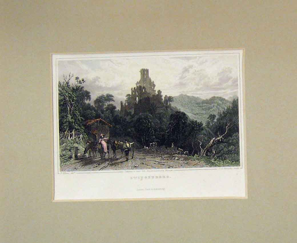 Print 1840 Hand Coloured View Zwingenberg Castle Ruins Horse 118B270 Old Original