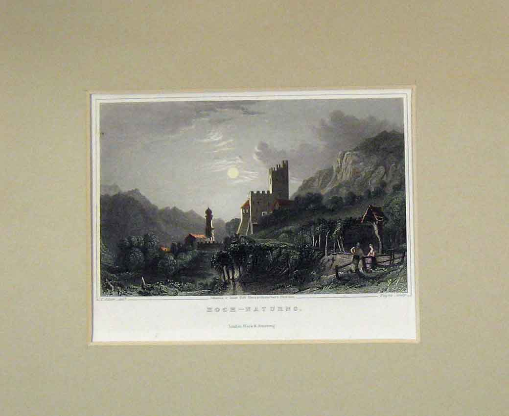 Print 1840 Hand Coloured View Hoch-Naturns Moonlight 119B270 Old Original