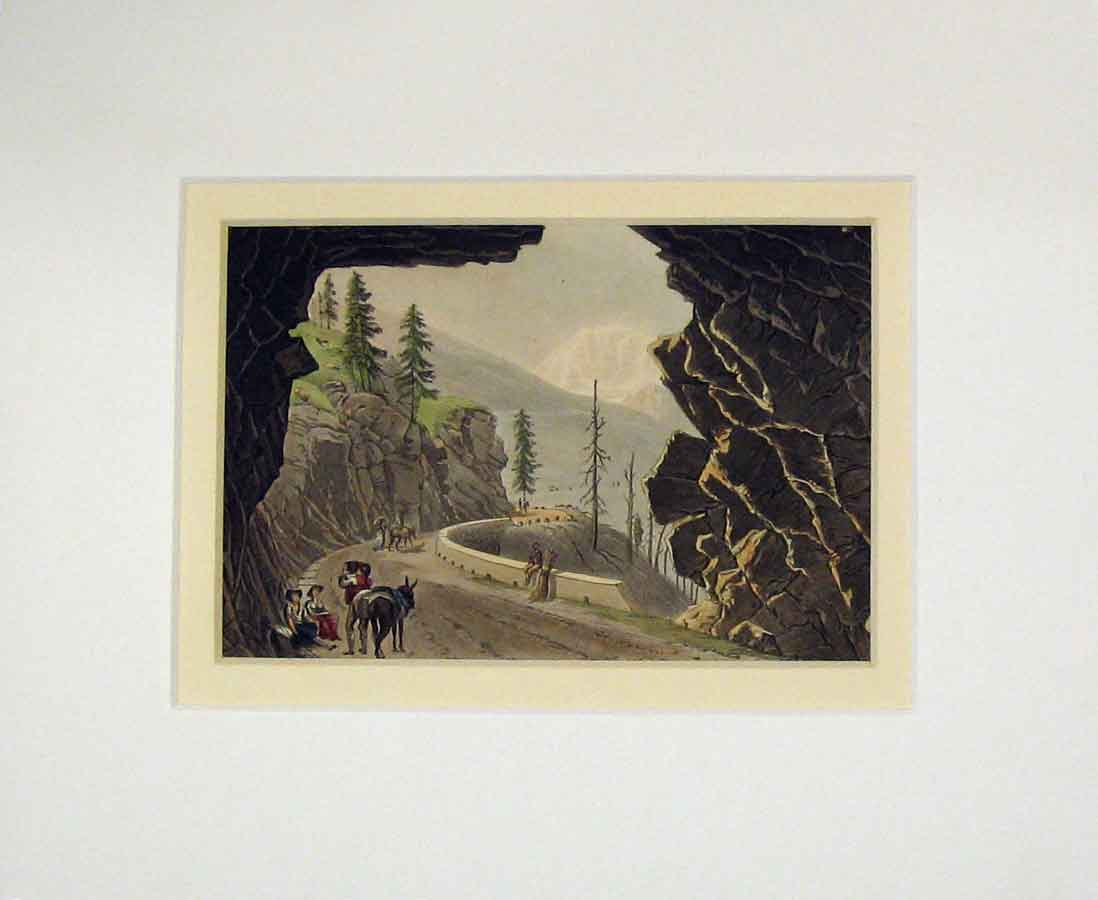Print 1850 Hand Coloured View Mountain Road Cave Trees 202B276 Old Original