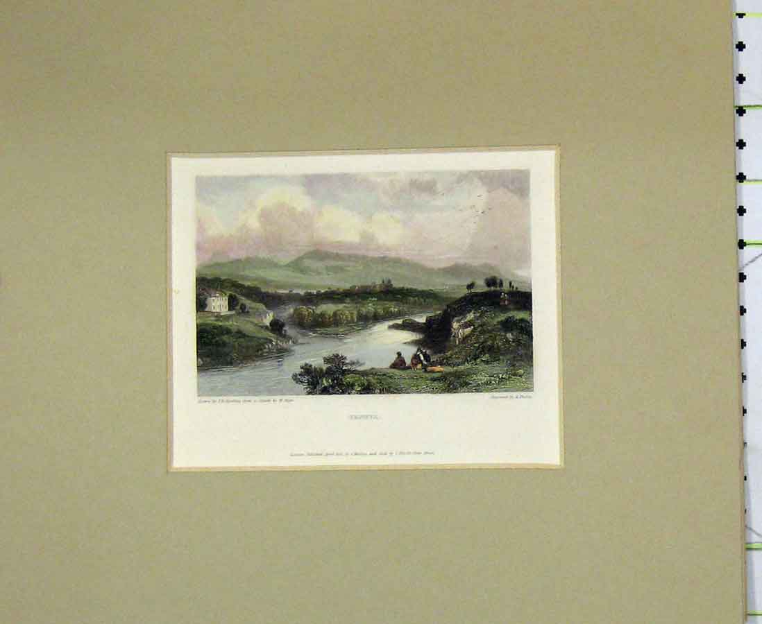 Print 1832 Hand Coloured View Geneva River Mountains 203B276 Old Original
