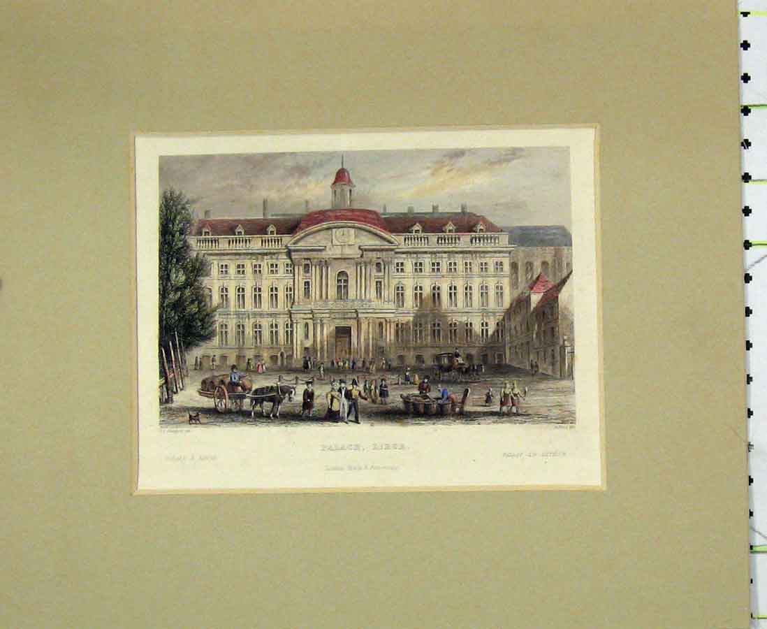Print View Palace Liege Building 1840 Hand Coloured 208B276 Old Original