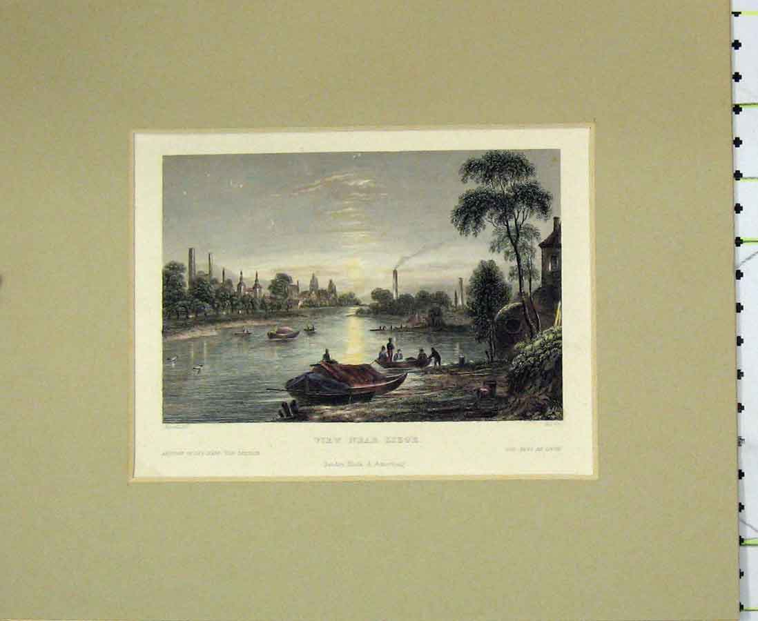 Print 1840 Hand Coloured View Near Liege River Boats 209Ab276 Old Original