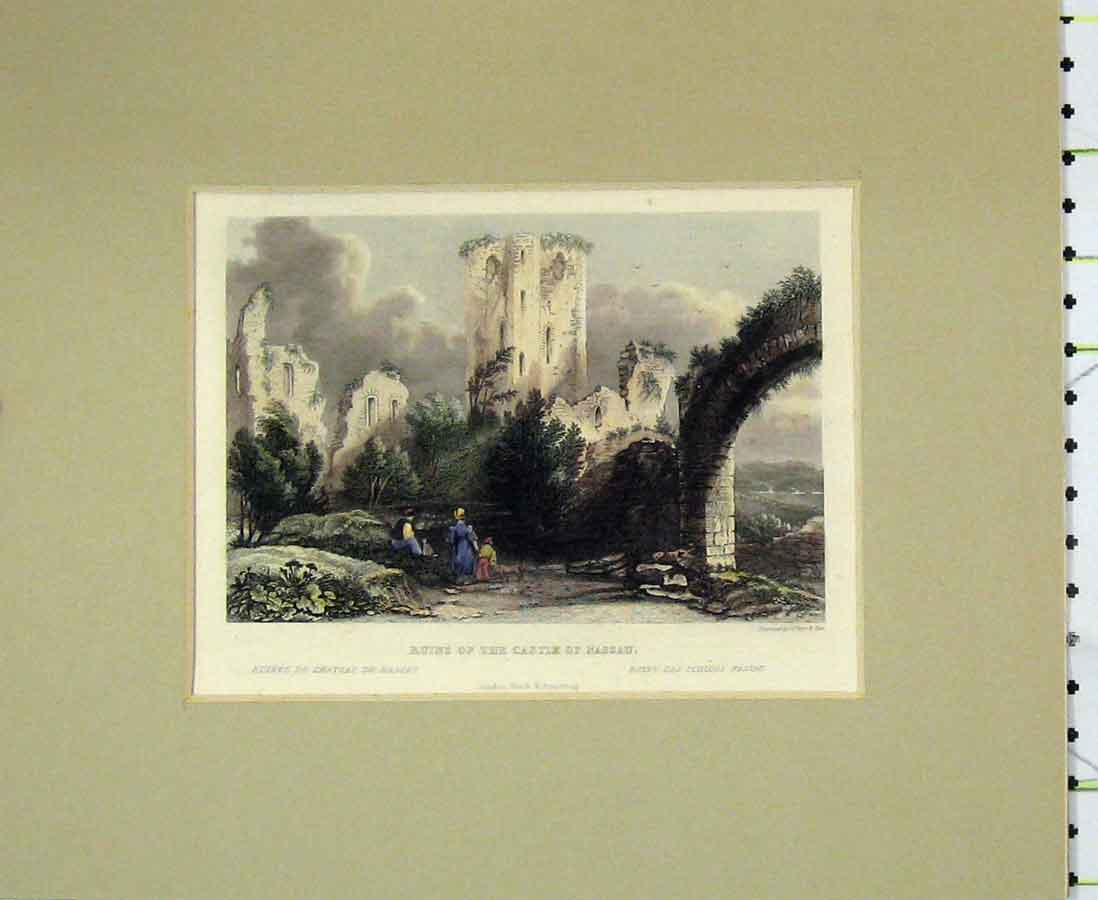 Print 1840 Ruins Castle Nassau Archway Hand Coloured 211B276 Old Original