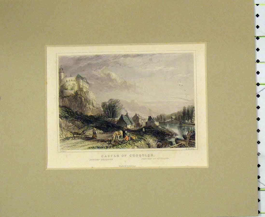Print 1840 Hand Coloured View Castle Choquier Winkles 212B276 Old Original