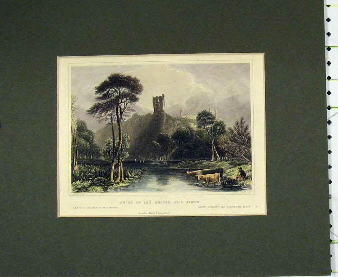 Print Hand Coloured 1840 Ruins Les Quatre Fils Aymon 213B276 Old Original
