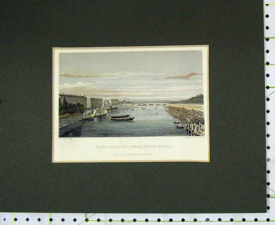 Print 1828 Hand Coloured View Pont Louis Xvi Bridge Boats 219B276 Old Original