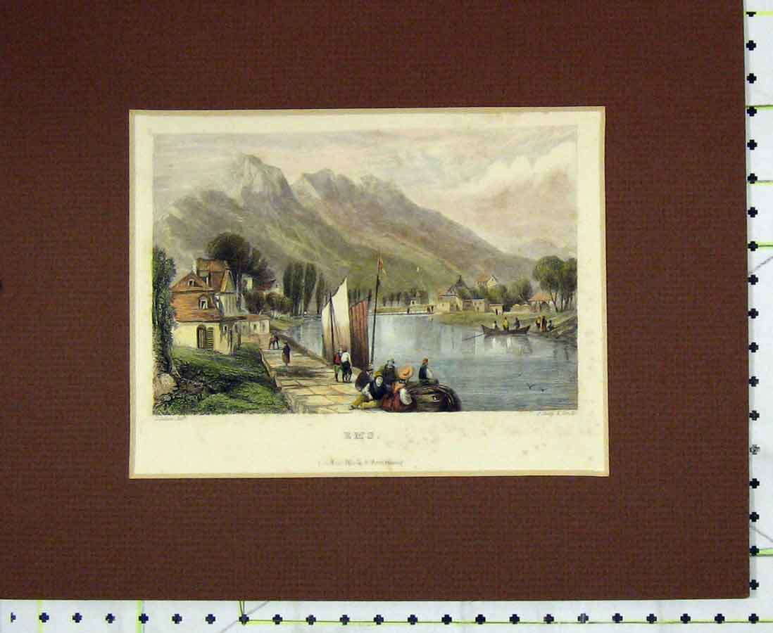 Print Hand Coloured 1840 View Ems River Boat Mountains 223B276 Old Original