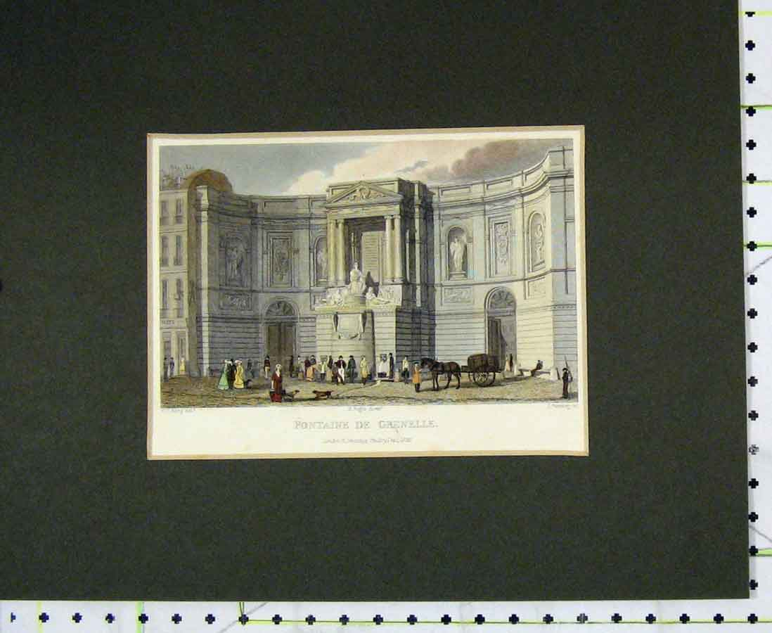 Print 1828 Hand Coloured View Fontaine De Grenelle 224B276 Old Original