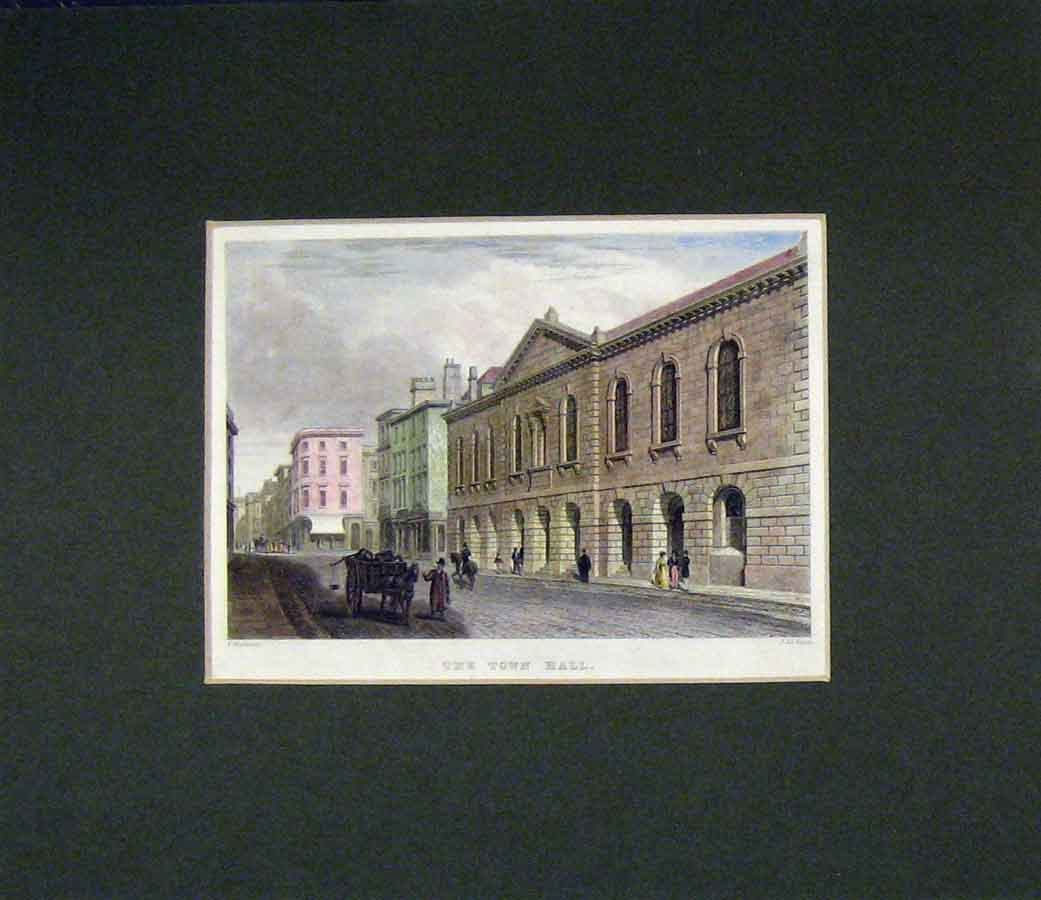 Print 1840 Colour View Town Hall Street Oxford Keux 401B277 Old Original