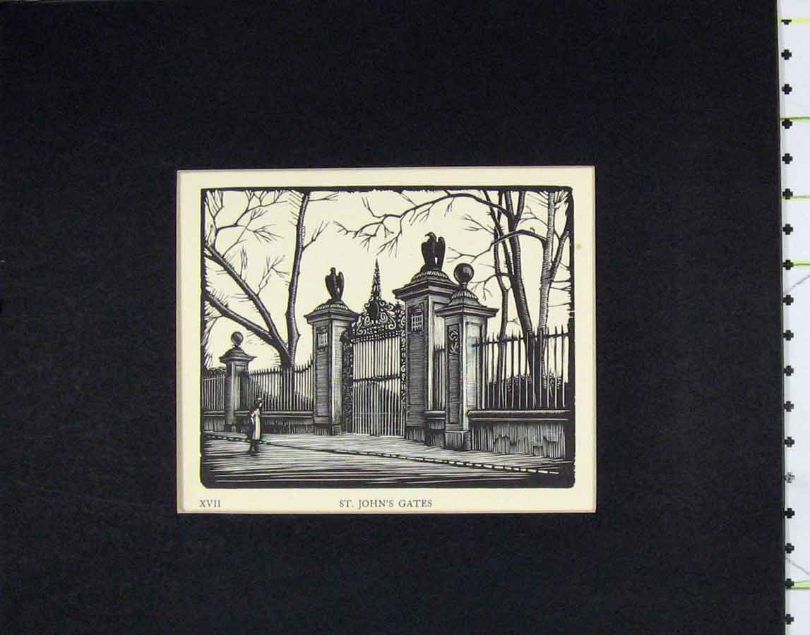 Print 1930 Woodcut View St John'S Gate 101B278 Old Original