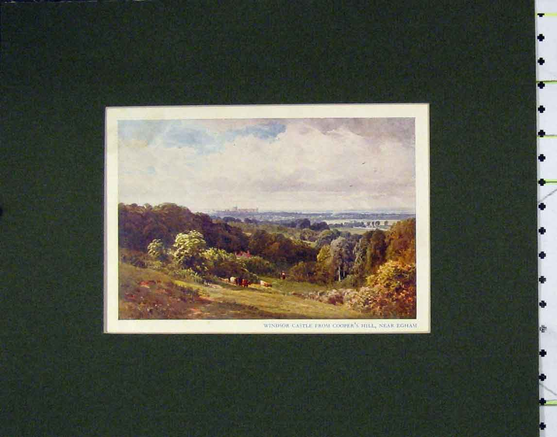 Print 1930 Colour View Windsor Castle Cooper'S Hill 104B278 Old Original