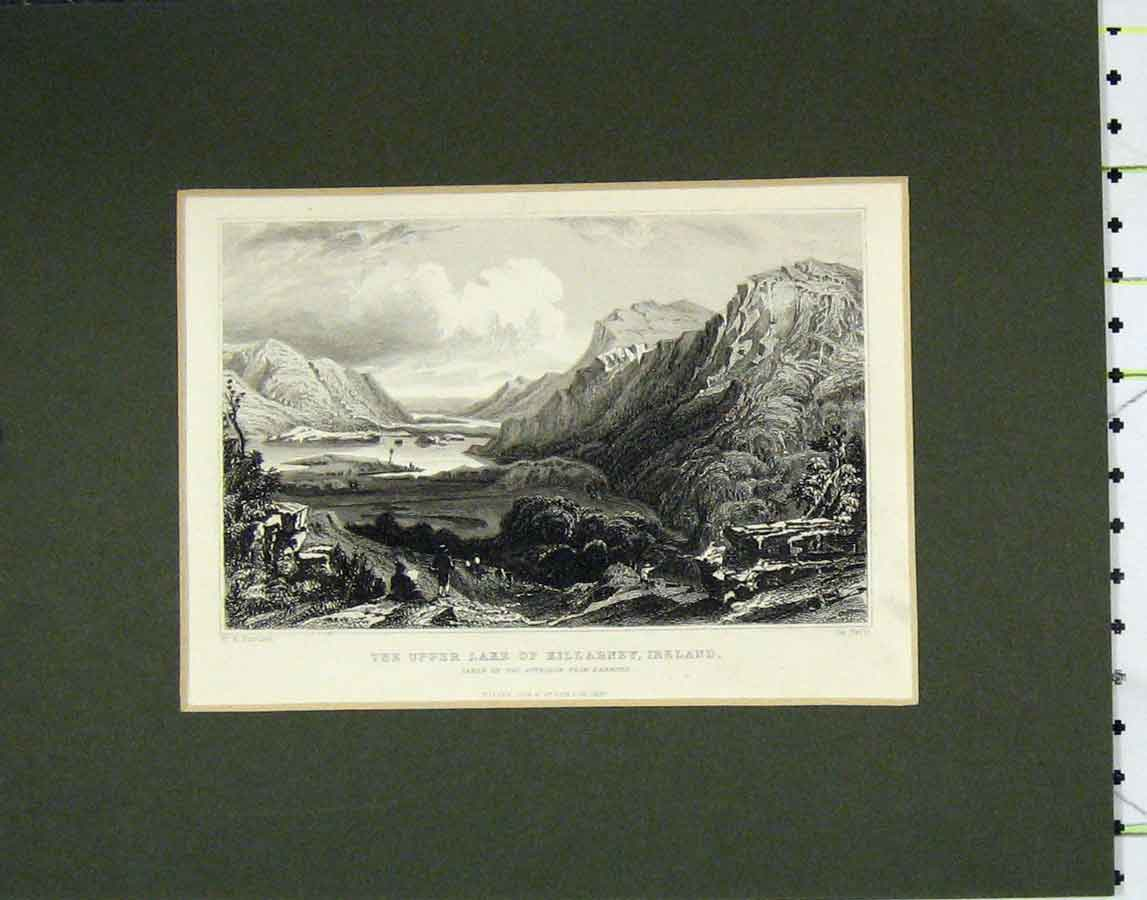 Print 1840 View Upper Lake Killarney Ireland 106B278 Old Original