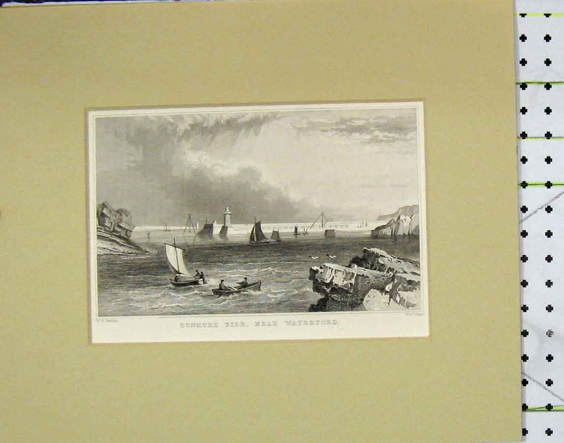 Print C1880 View Dunmore Pier Waterford Dixon 108B278 Old Original