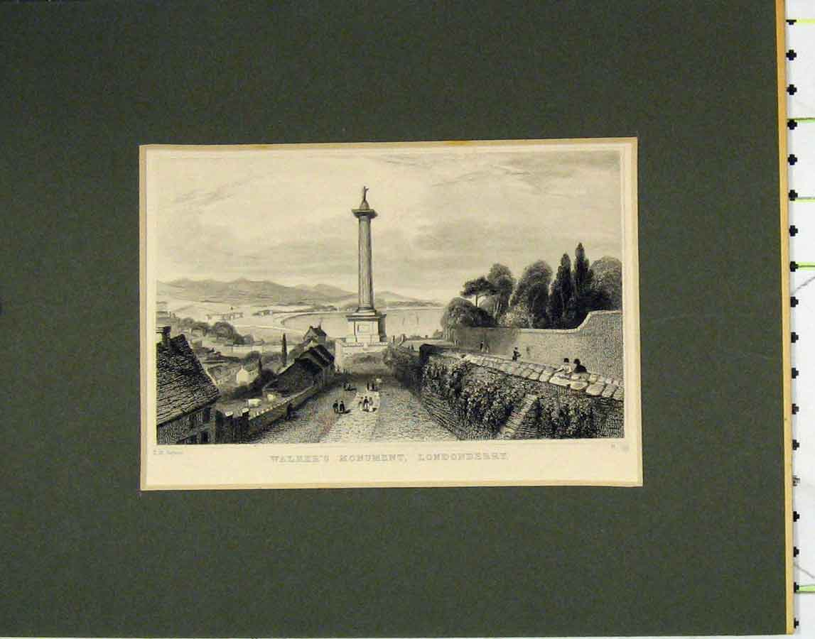Print C1840 View Walkers Monument Londonderry 110B278 Old Original
