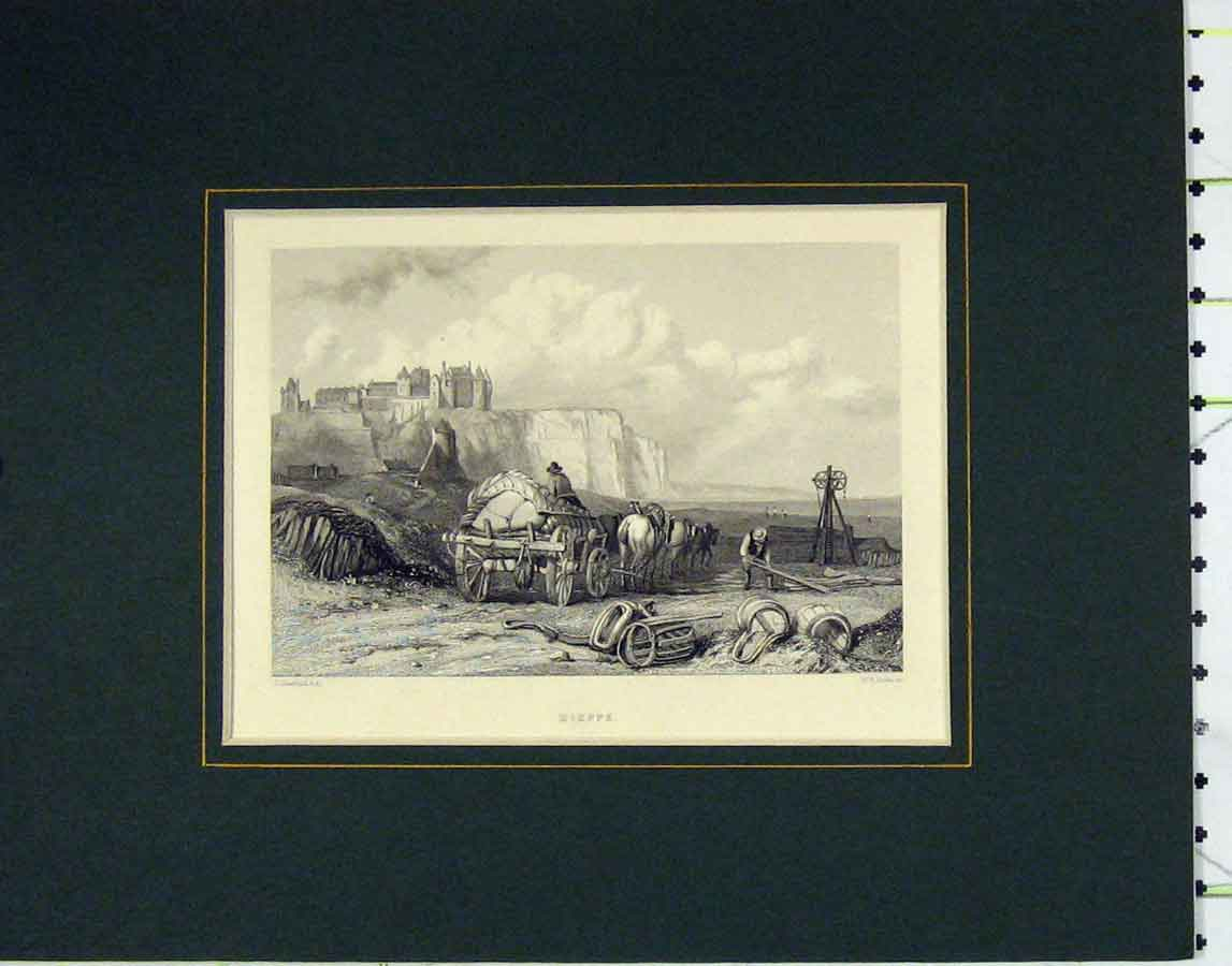 Print 1840 View Dieppe France Horse Cart Cooke 116Ab278 Old Original