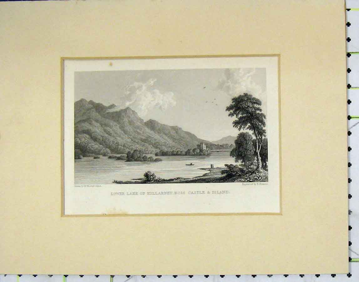 Print C1850 Lower Lake Killarney Ross Castle Island 118B278 Old Original