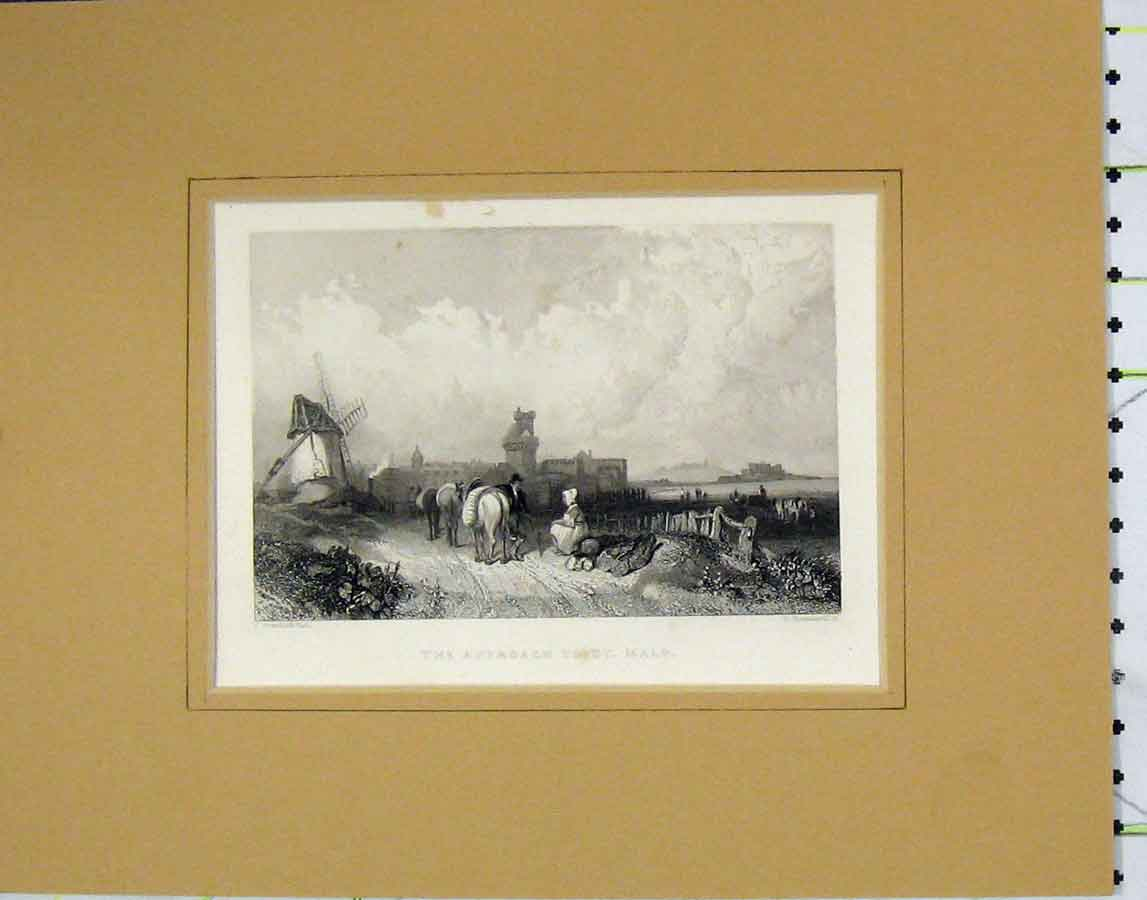 Print 1840 View Road Approach St. Malo Brandard 119B278 Old Original