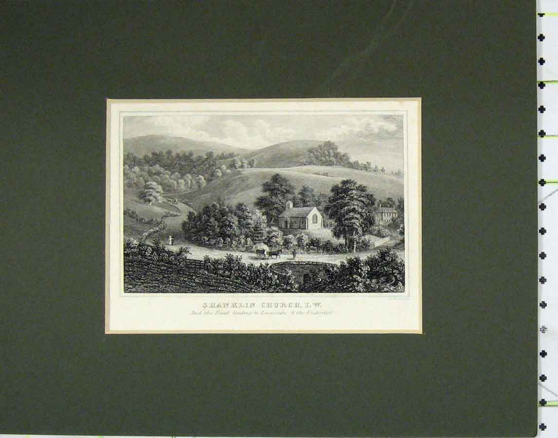 Print 1840 View Shanklin Church Road Luccombe 122B278 Old Original