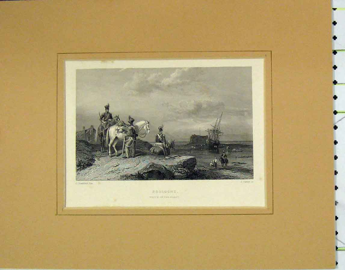 Print 1840 View Boulogne Ship Wreck Coast Horse 125B278 Old Original