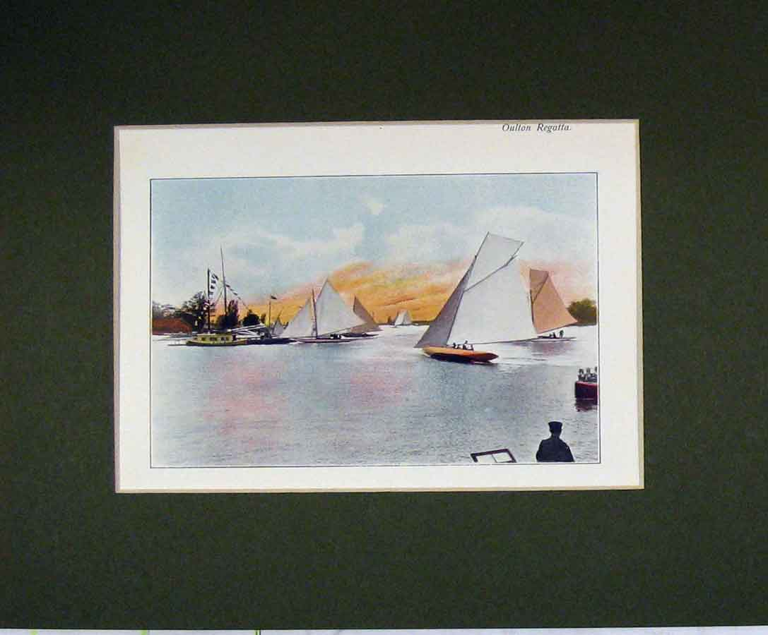 Print Norfolk 1900 View Oulton Regatta Colour Sail Boat 314B279 Old Original