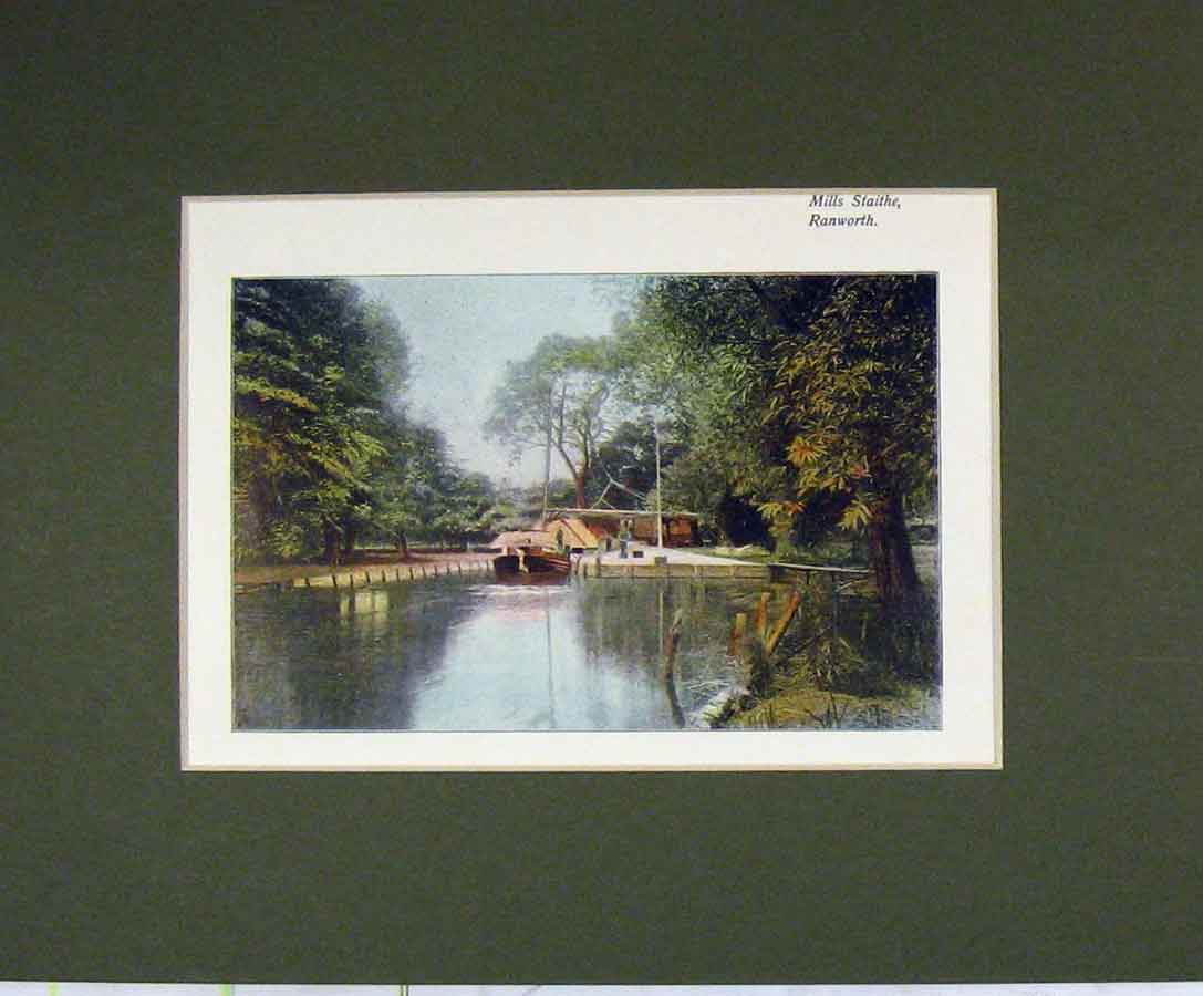 Print 1900 Norfolk Colour View Mills Staithe Ranworth 317B279 Old Original