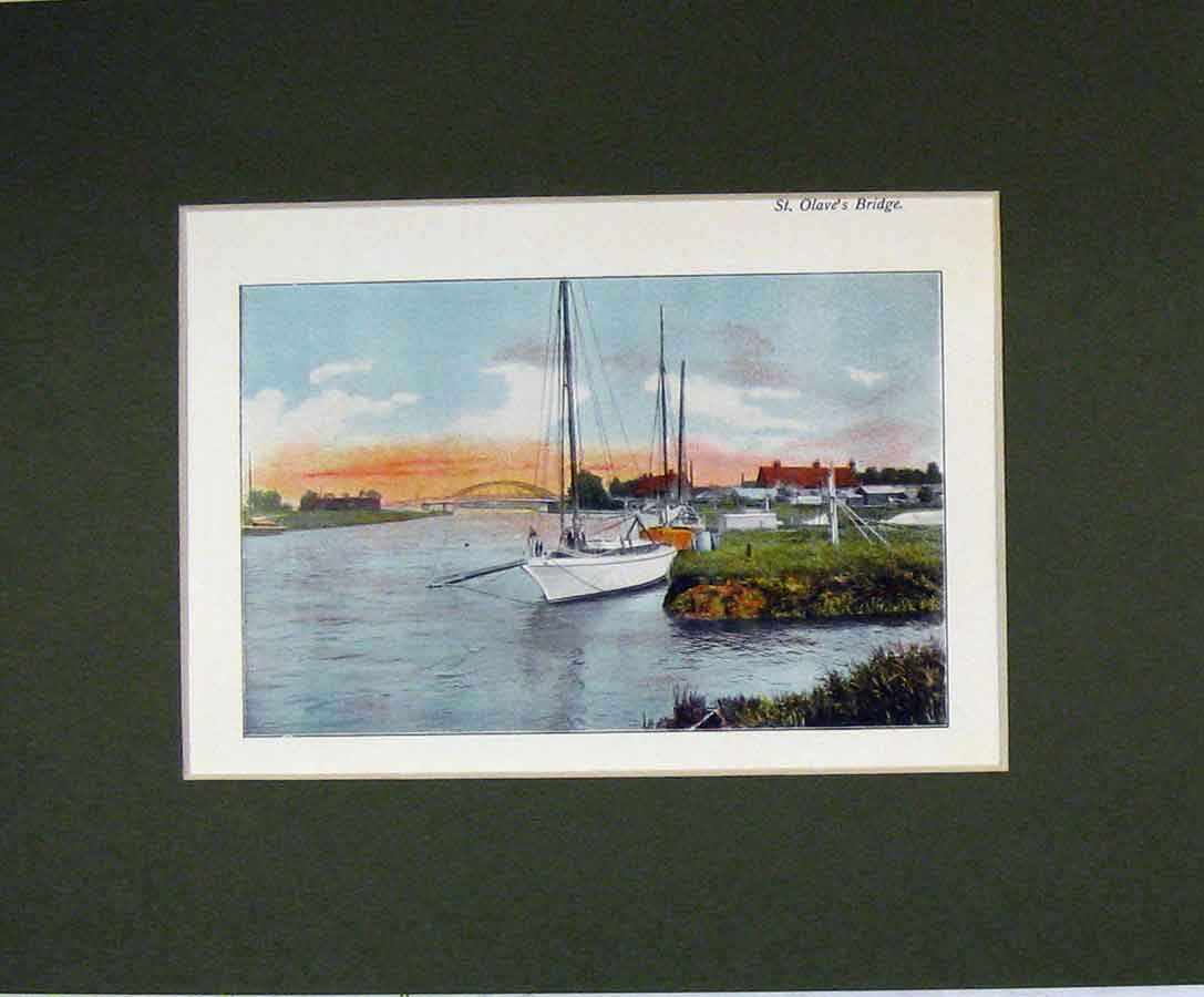 Print Norfolk 1900 Colour View St Olave'S Brdige Boat 326B279 Old Original