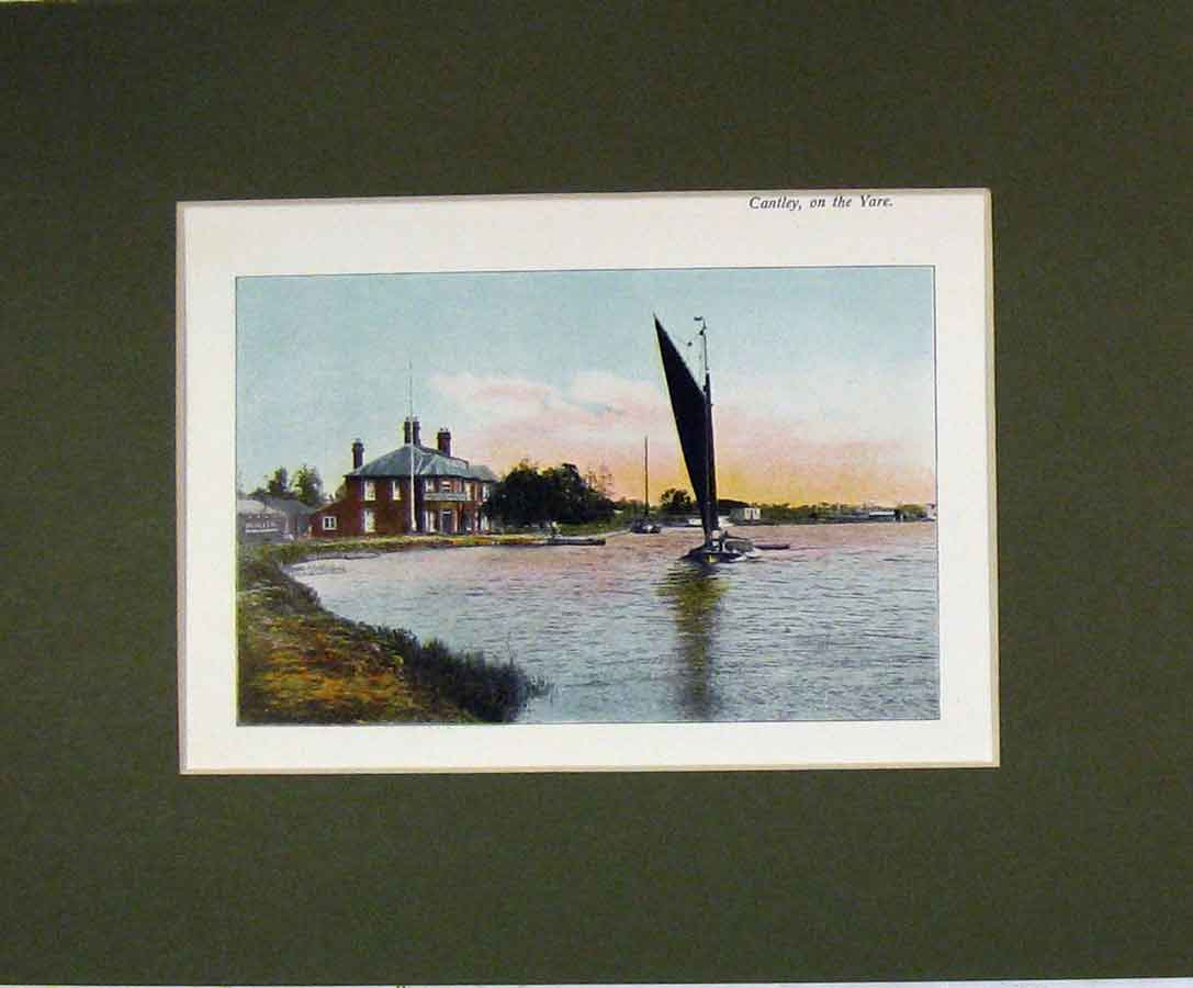 Print Norfolk Colour 1900 View Cantley River Yare Boat 328B279 Old Original