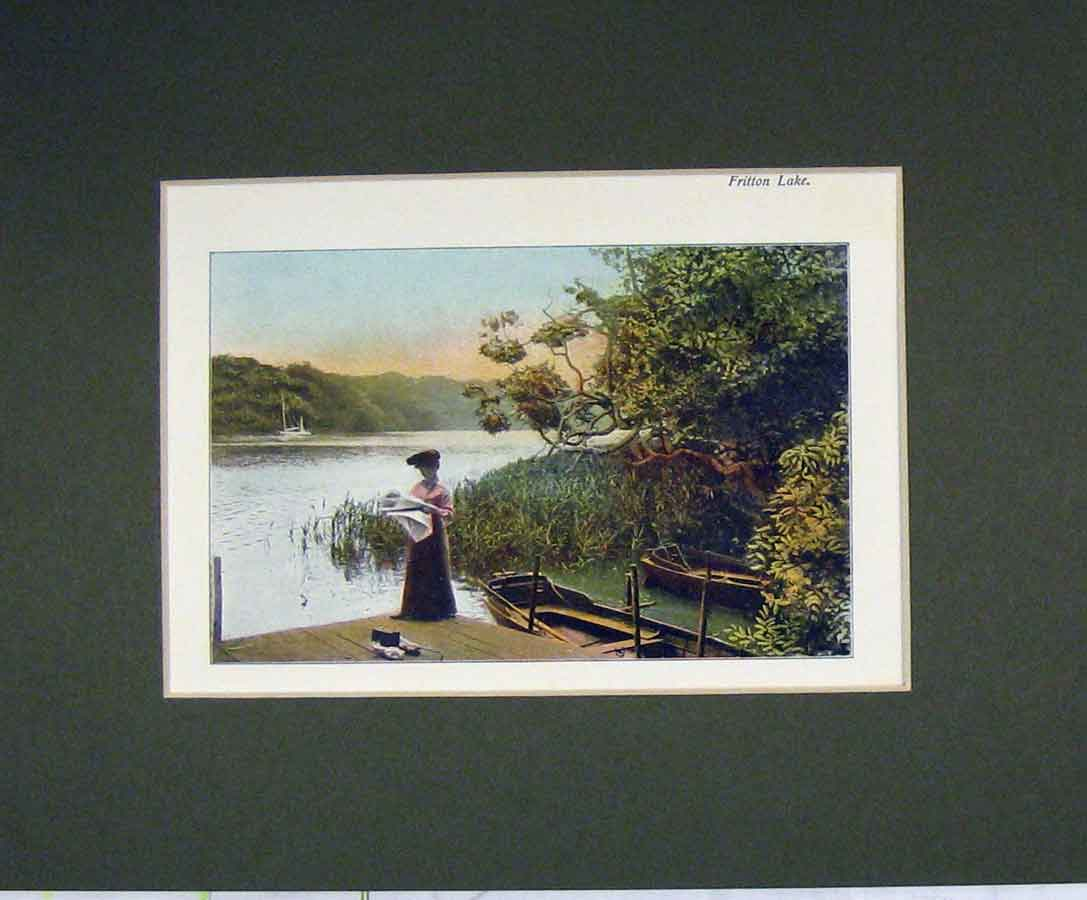 Print 1900 Norfolk Broads Colour View Fritton Lake Boat 331B279 Old Original