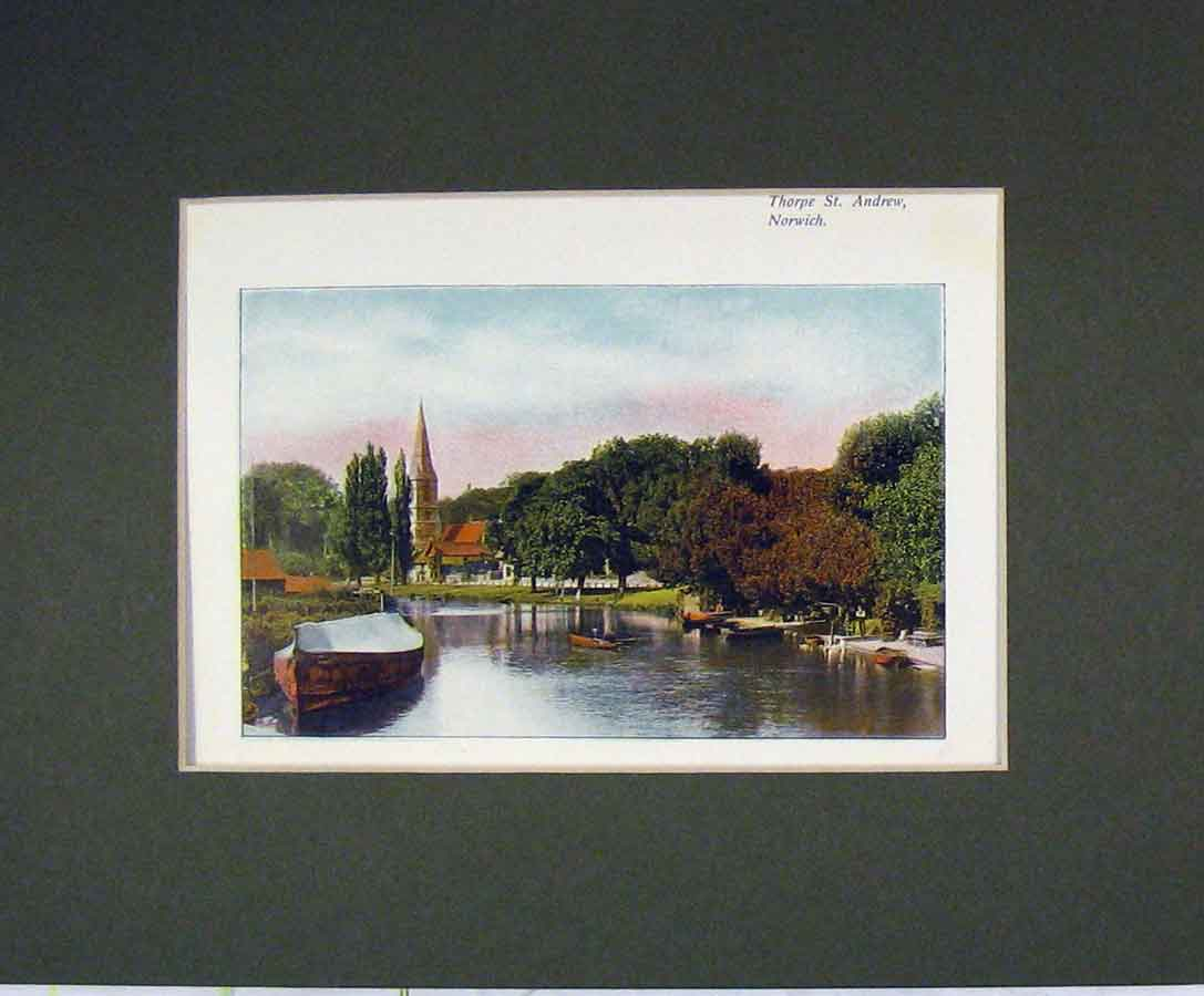 Print Norfolk 1900 Colour View Thorpe St Andrew Norwich 339B279 Old Original