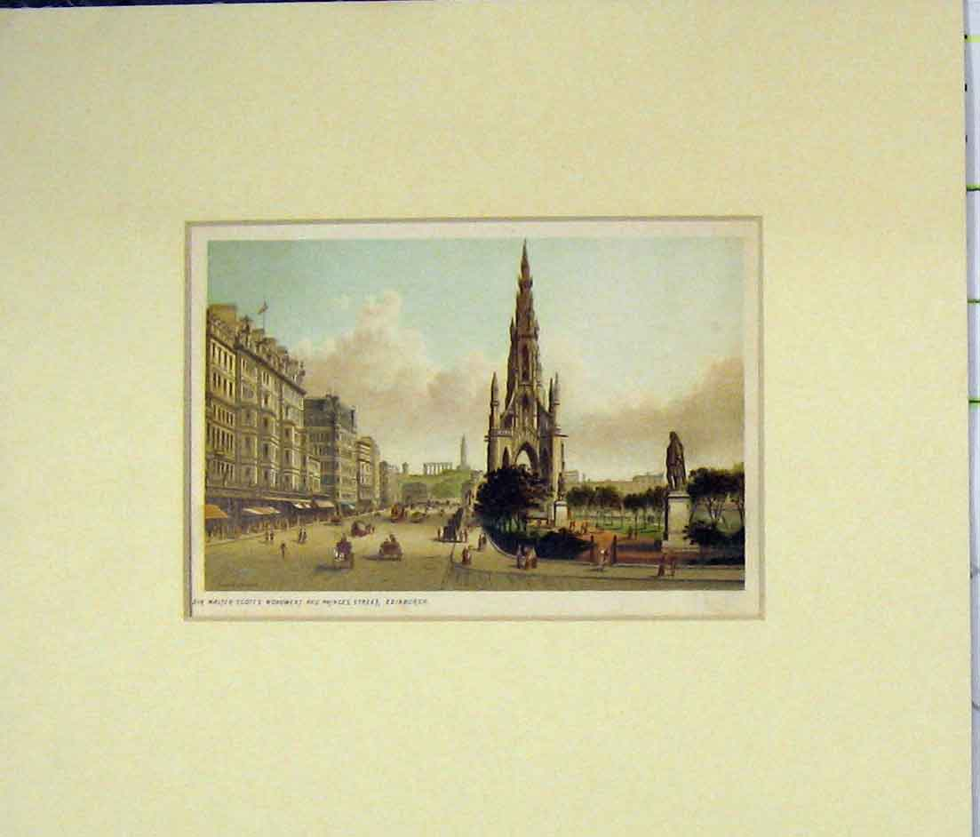 Print Sir Walters Scott Monument Princess Street Edinburgh 524B280 Old Original