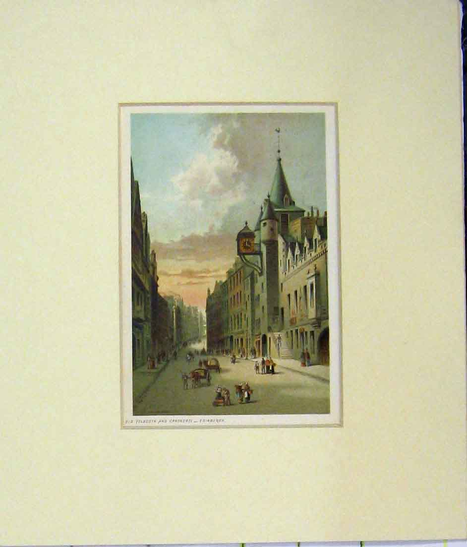 Print Tolbooth Candngate Edinburgh 1870 Chromo-Litho 527B280 Old Original