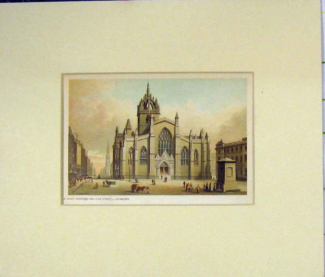Print Giles Cathedral High Street Edinburgh 1870 Chromo-Litho 528B280 Old Original