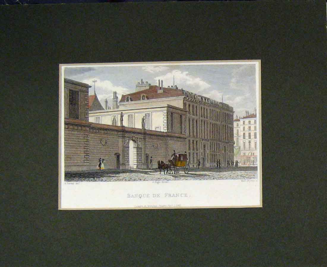 Print 1829 Hand Coloured View Bank France Building 401B281 Old Original
