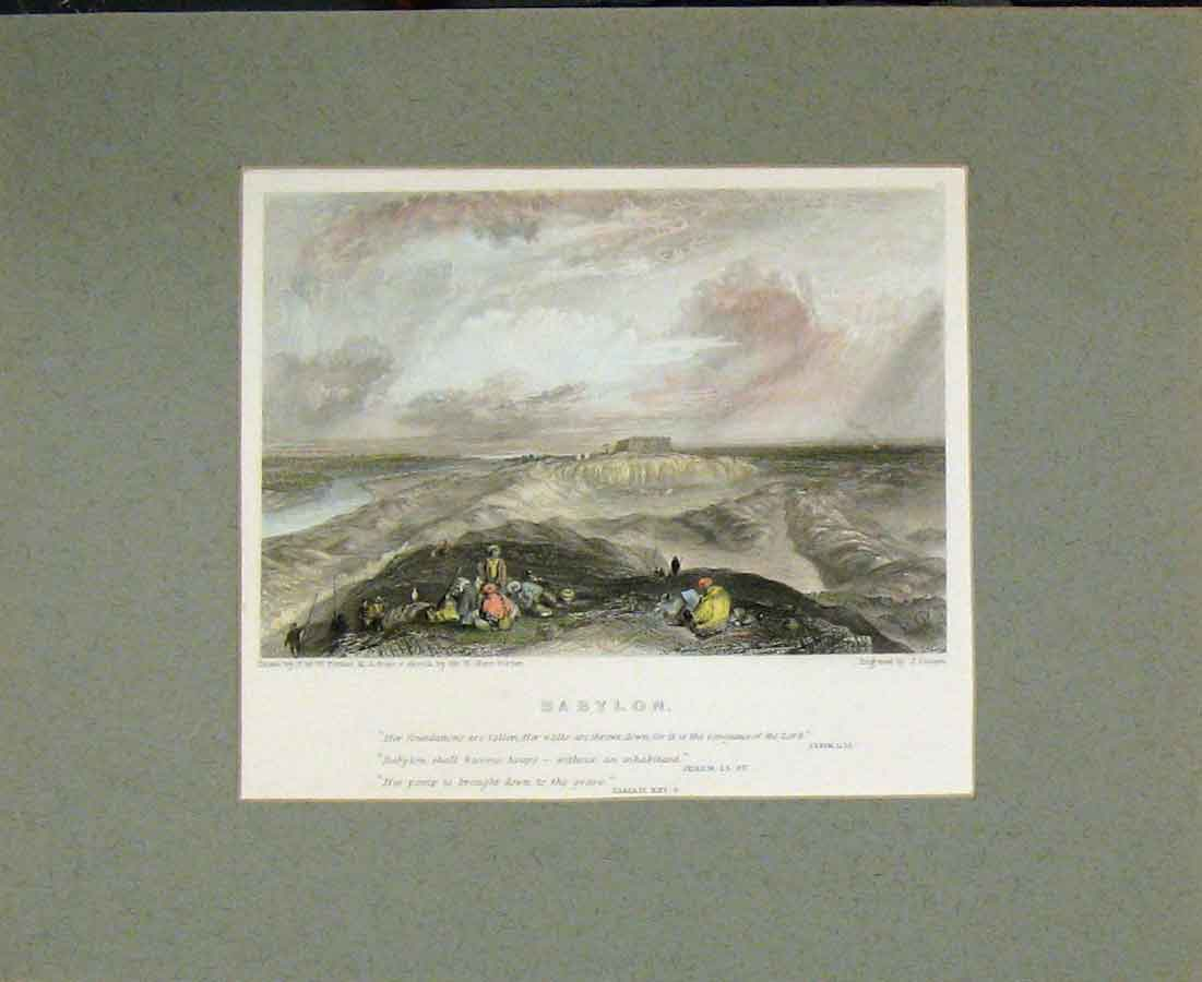 Print Hand Coloured 1836 View Babylon Holy Land Cousen 412B281 Old Original