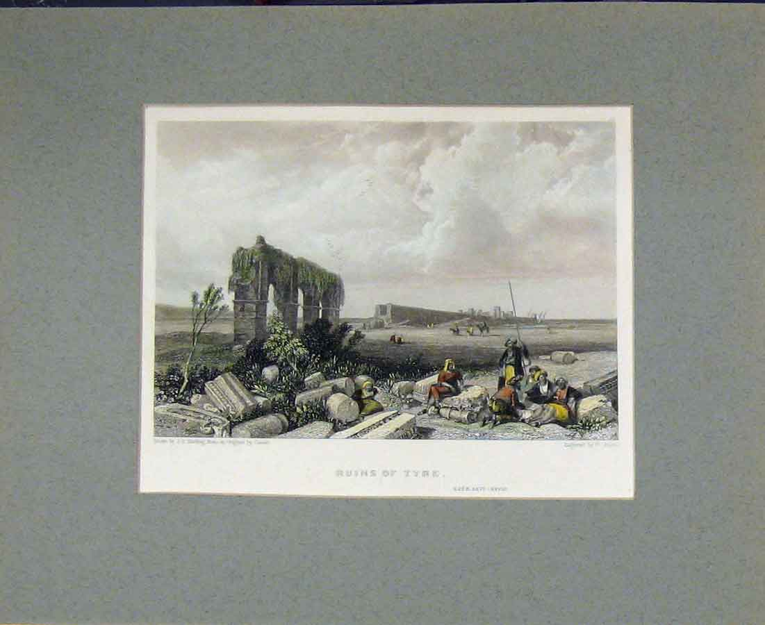Print 1836 Hand Coloured View Ruins Tyre Harding Finden 416B281 Old Original