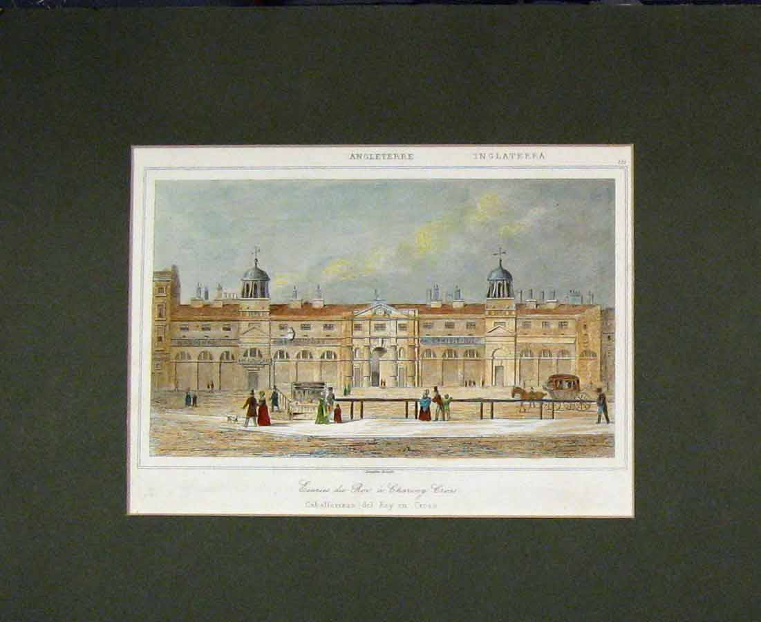 Print 1840 Colour Exhibition Building Charing Cross 426B281 Old Original