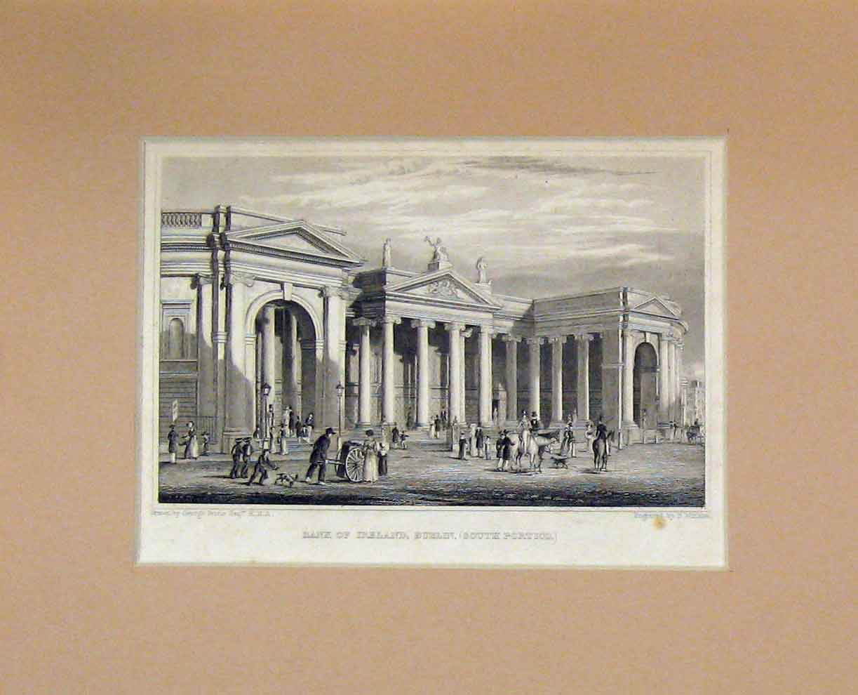 Print View Bank Ireland Dublin South Portico 1860 Winkles 306B282 Old Original