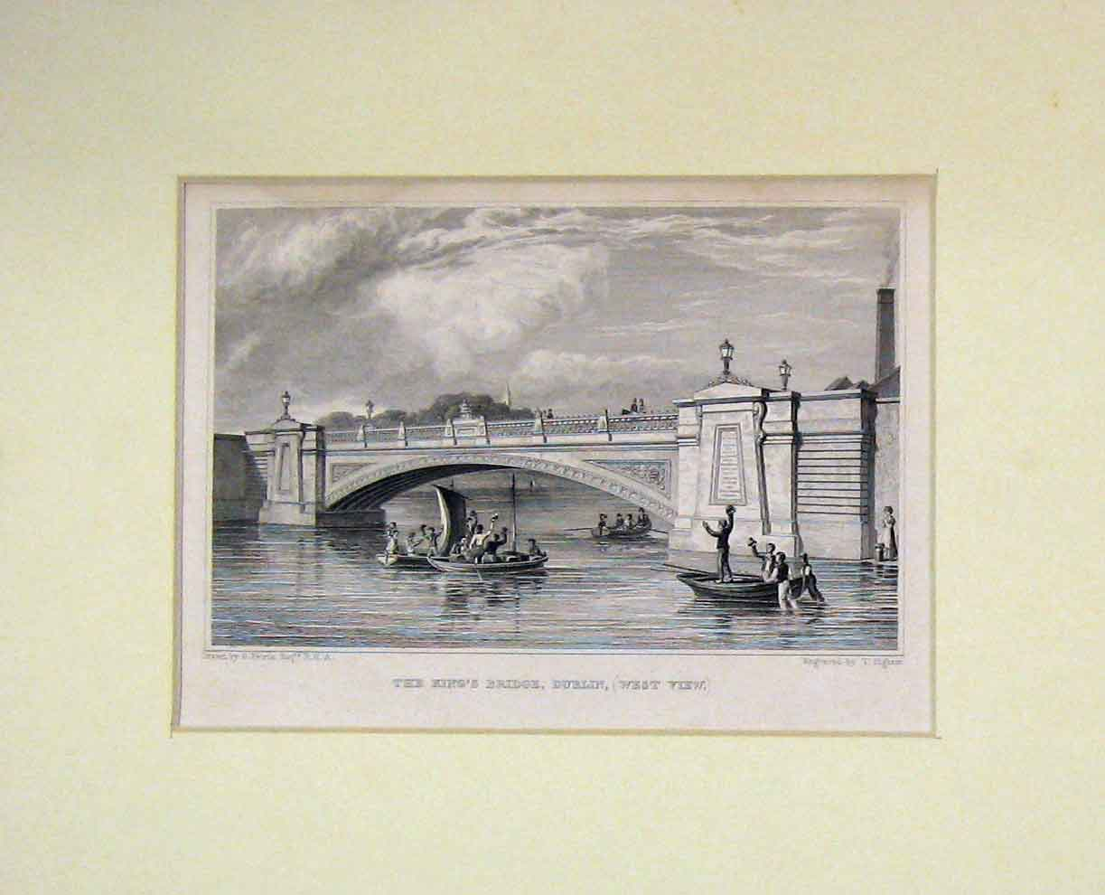 Print 1860 View King'S Bridge Dublin Ireland West View Boats 307B282 Old Original