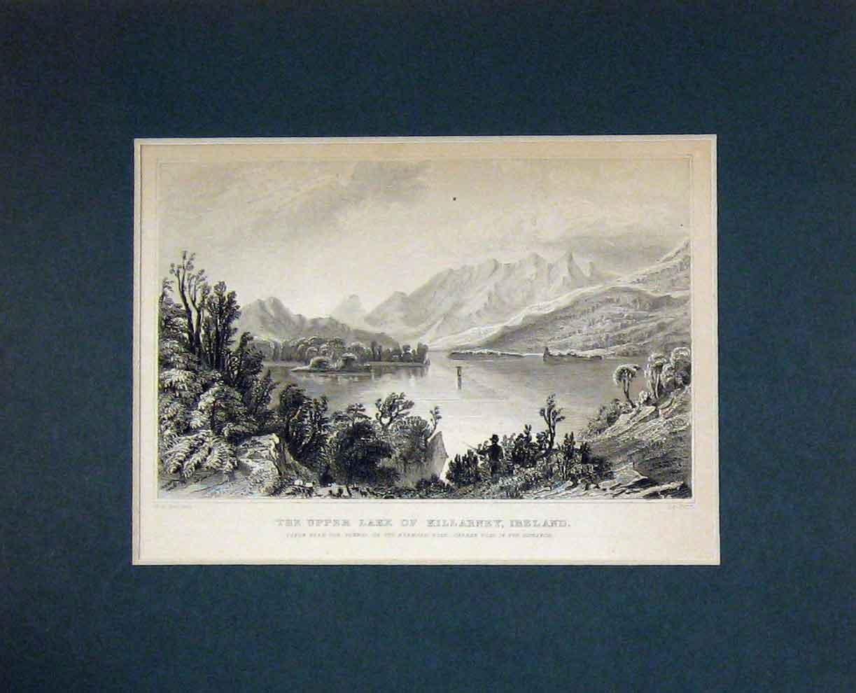 Print C1850 View Upper Lake Killarney Island Mountains 323B282 Old Original