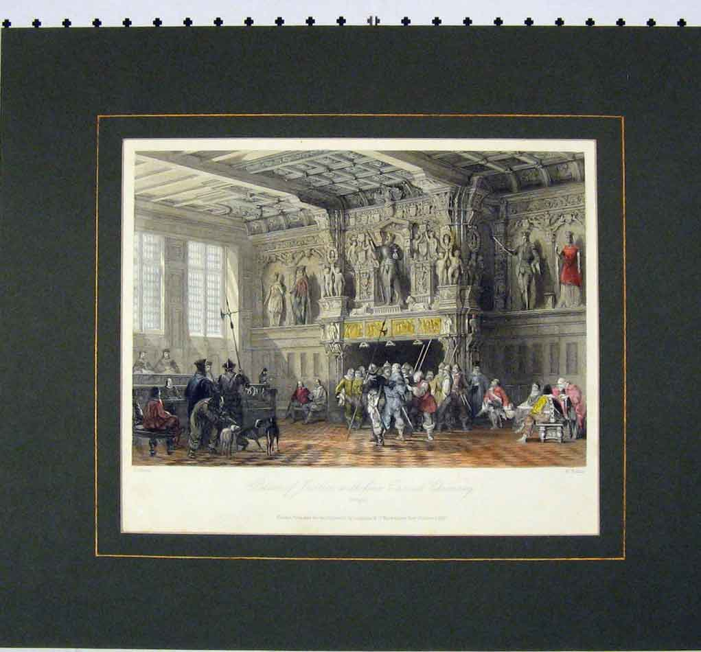 Print 1840 Colour View Palace Justice Carved Chimney 310B284 Old Original