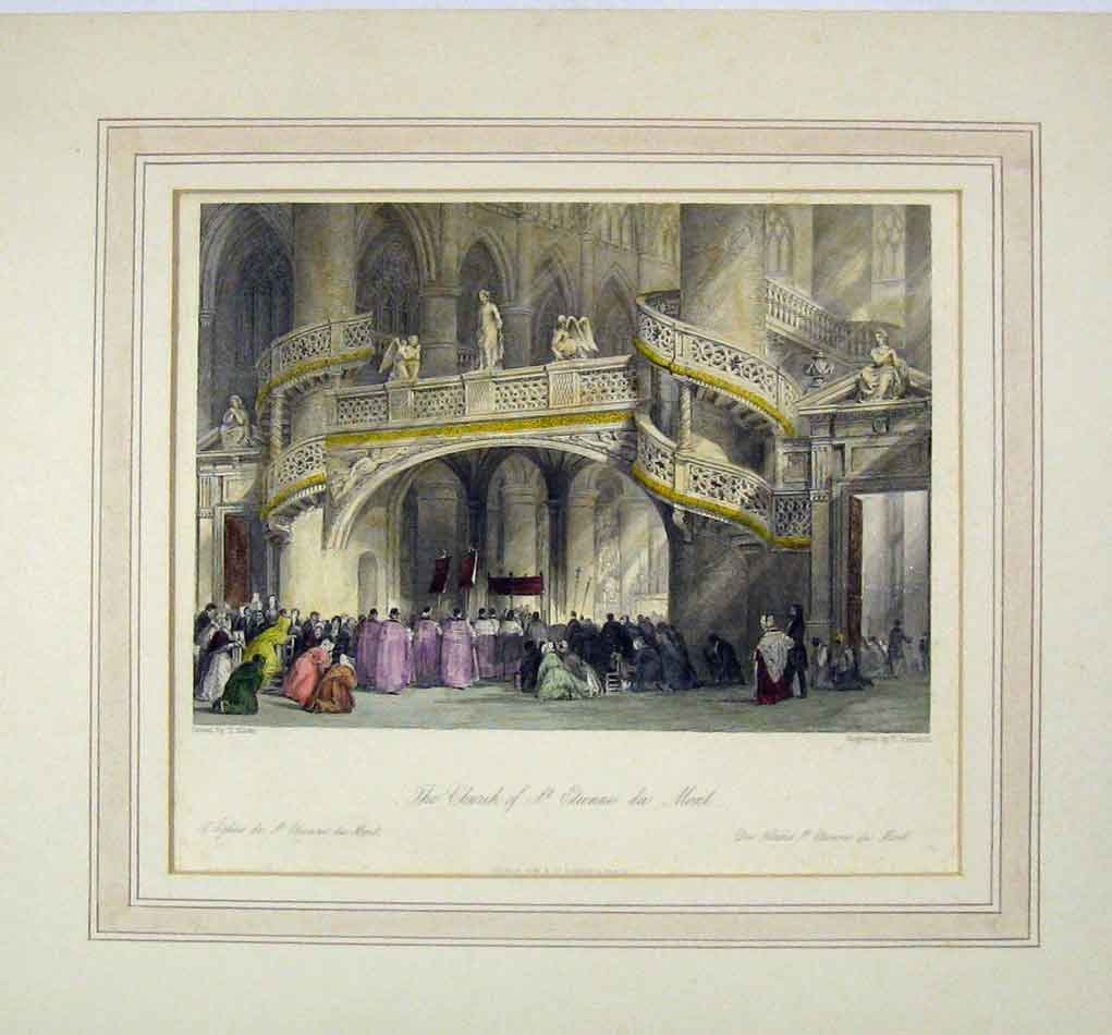 Print Colour Interior View Church Etienne Du Mont 314B284 Old Original