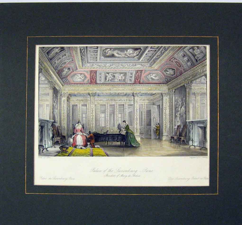 Print 1840 Hand Coloured View Palace Luxembourg Paris 315B284 Old Original
