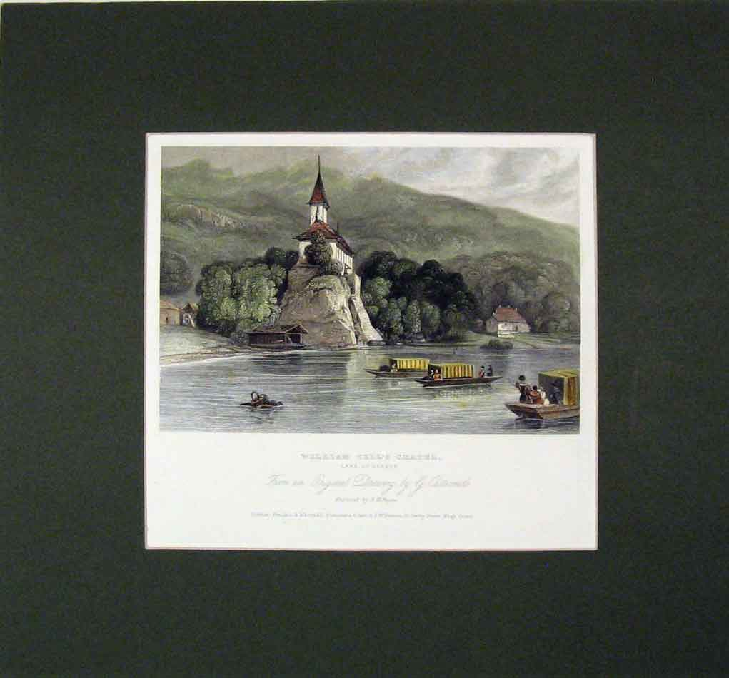 Print *0104 1840 Hand Coloured William Tell Chapel Lake Geneva 320B284 Old Original